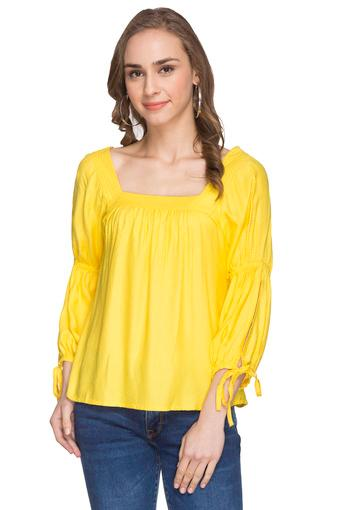 Womens Square Neck Self Printed Top