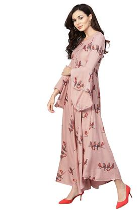 Womens Fit and Flared Round Neck Printed Maxi Dress