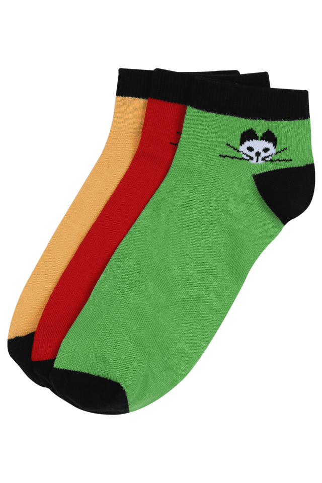 Women Printed Ankle Socks (Set Of 3)