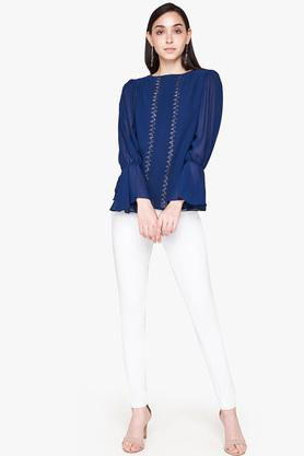 Womens Straight Fit Round Neck Solid Embellished Top