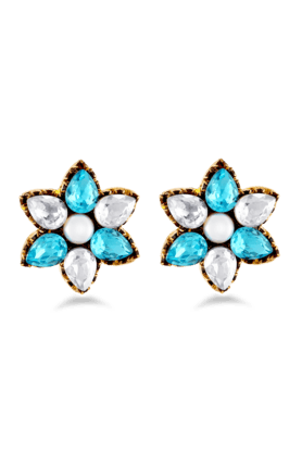 JAZZ Gold Plated With Gold & Blue Color American Diamond Flower Shaped Earrings