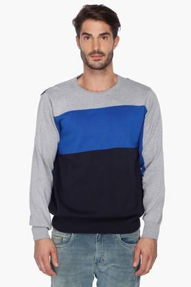 STOP Mens Striped Round Neck Sweater