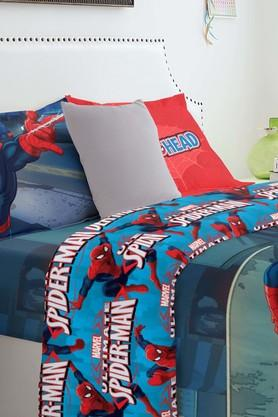 SPACESMarvel Spiderman Blue Double Bed Sheet With 2 Pillow Covers