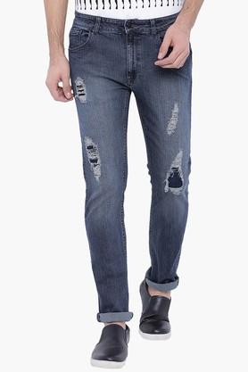BLUE SAINT Mens Blue Washed Mid Rise Slim Fit Jeans