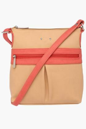LIFE Womens Synthetic Leather Zipper Closure Sling Handbag