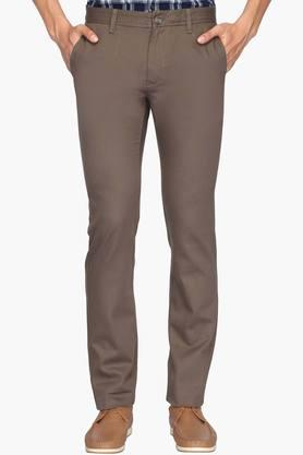 INDIAN TERRAIN Mens Slim Fit 4 Pocket Solid Trousers (Brooklyn Fit) - 202069908
