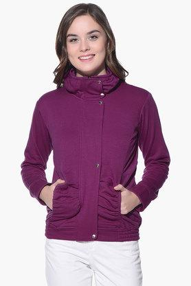 PURYS Womens High Neck Solid Jacket - 201998858_9557