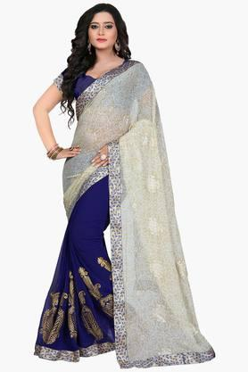 Women Chiffon Half & Half Floral With Lace Embroidered Saree - 202447133