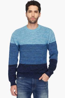UNITED COLORS OF BENETTON Mens Round Neck Colour Block Knitted Sweater