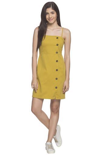 Womens Spaghetti Neck Solid Short Dress