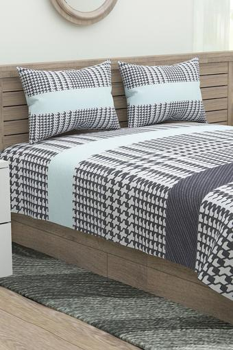 Houndstooth Printed Double Bed Sheet with Pillow Cover