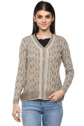 Womens V Neck Printed Knitted Sweater
