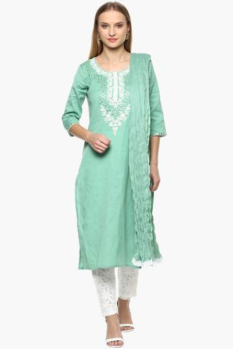 STOP -  Pista Green Salwar & Churidar Suits - Main