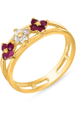 MAHI Mahi Gold Plated Classically Feminine Ring With Ruby And CZ Stones For Women FR1100319G