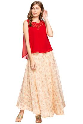 Womens Round Neck Embroidered Skirt and Top Set