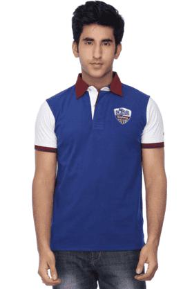 Mens Short Sleeves Slim Fit Polo Neck Colour Block T Shirt