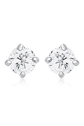 MAHIMahi Rhodium Plated Solitaire Classic Earrings Made With Swarovski Zirconia For Women ER1195027R