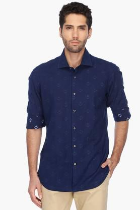 Rare Rabbit Formal Shirts (Men's) - Mens Cutaway Collar Printed Shirt
