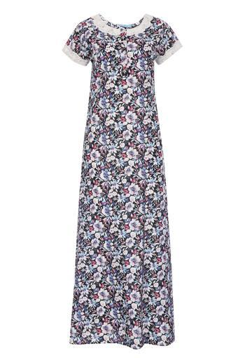 Womens Round Neck Floral Print Night Gown