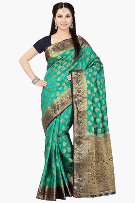 ISHINWomens Tussar Silk Brocade Banarasi Saree