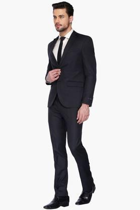 Mens Slim Fit Notched Lapel Slub Suit
