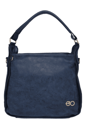 E2O Womens Leather Zipper Closure Satchel