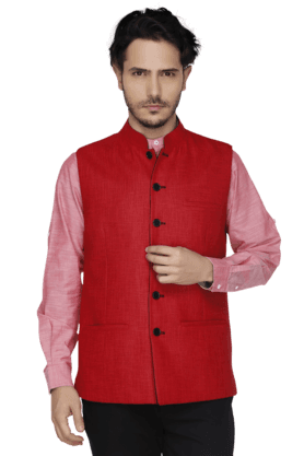 THEME Mens Sleeveless Slim Fit Solid Nehru Jacket