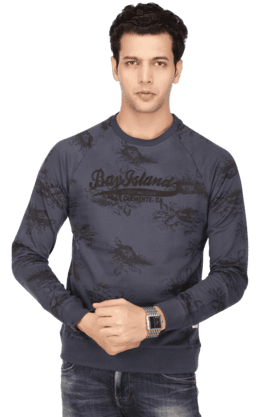 BAY ISLAND Mens Full Sleeves Round Neck Slim Fit Printed Sweatshirt - 200371417