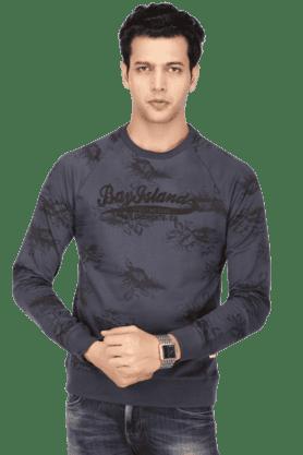 BAY ISLANDMens Full Sleeves Round Neck Slim Fit Printed Sweatshirt - 200371417