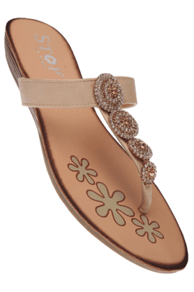 STOP Womens Natural Zoe Slipon Flat Sandal