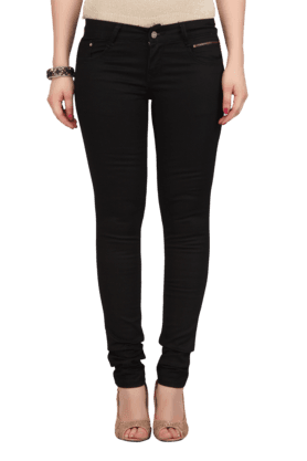 Women Blended Stretch Mid Rise Skinny Fit Jeggings