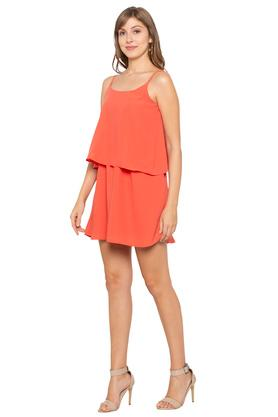 Womens Strappy Neck Solid Short Dress