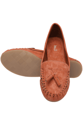 Womens Orange Casual Slipon Ballerina Shoe