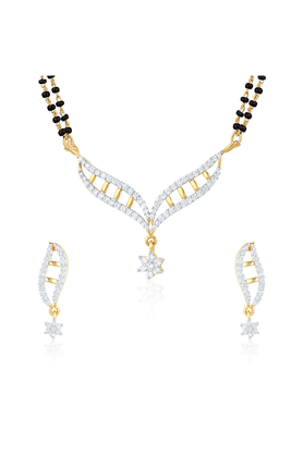 MAHI Mahi Gold Plated Eternal Bliss Mangalsutra Set With CZ For Women NL1101550G2