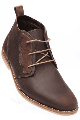 FRANCO LEONE Mens Brown Casual Leather Boot