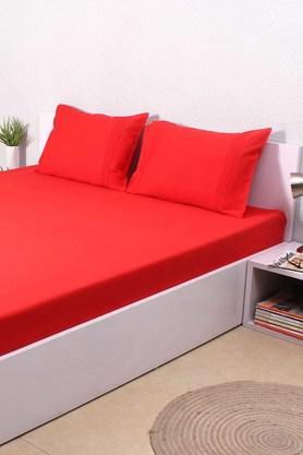 HOUSE THIS Solid 100% Cotton Sateen Single Bed Sheet & 1 Pillow Cover - Red