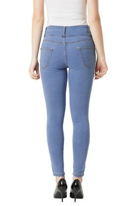 Womens Skinny Fit High Rise Coated Stretchable Jeans