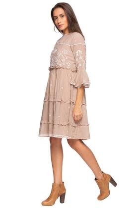 Womens Round Neck Embroidered Skater Dress