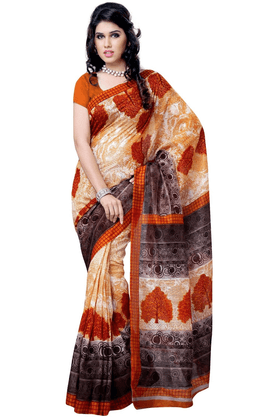 DEMARCA De Marca Orange::Grey Art Silk Designer DF-506C Saree