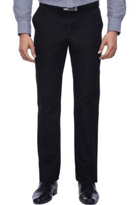 INDIAN TERRAINMens Flat Front Slim Fit Solid Trouser - 9983044