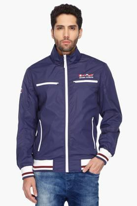 BEING HUMANMens High Neck Solid Jacket