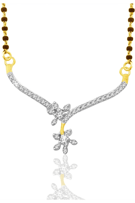 SPARKLES Gold Mangalsutra With Diamond Pendant Set - N9404