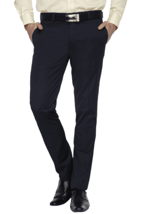 BLACKBERRYS Mens Flat Front Slim Fit Solid Formal Trousers - 200889310