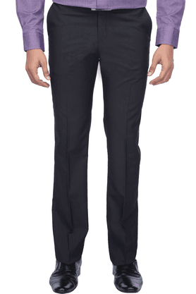 BLACKBERRYS Mens Flat Front Slim Fit Solid Formal Trousers