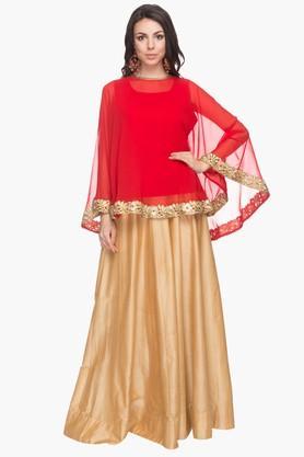 KASHISHWomens Cape-style Skirt Kurta Dupatta Set