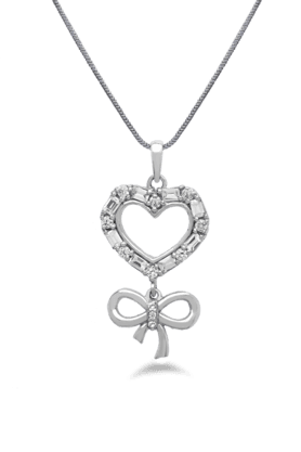 REAL EFFECTEmbellished Heart And Bow Pendant