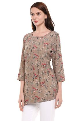 Womens Round Neck Floral Print Tunic