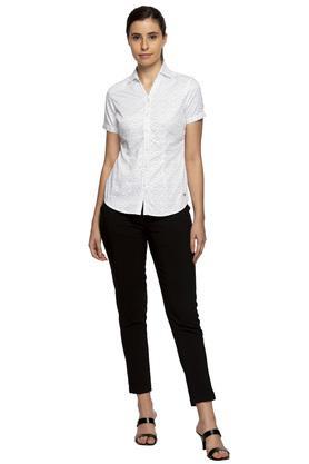 Womens Collared Polka Dots Shirt
