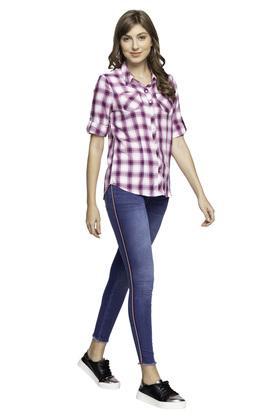 Womens 5 Pocket Side Tape Mild Wash Jeans