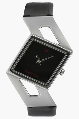 Fastrack Womens Black Dial Leather Strap Watch image